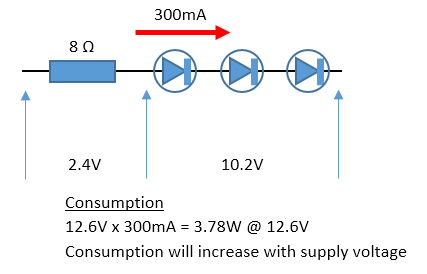 Unregulated LED light schematic