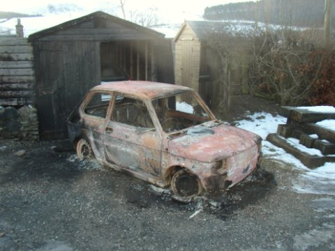 A lithium iron phosphate battery fire totally destroyed this DIY electrical vehicle. (Photo Greg Fordyce, February 2009)