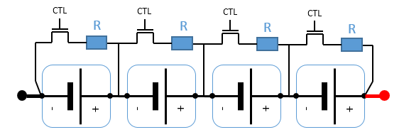 A 4-cell battery with cell shunt balancers