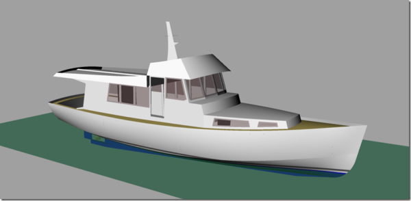 Wild South 42 Pilot House version CAD rendering