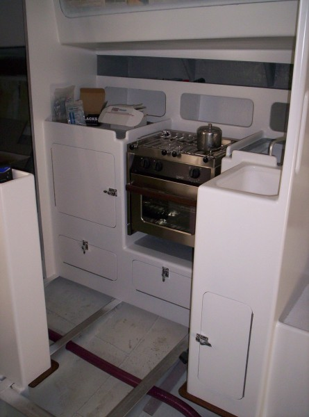 Nordkyn Interior Construction 70 - Galley with locker doors