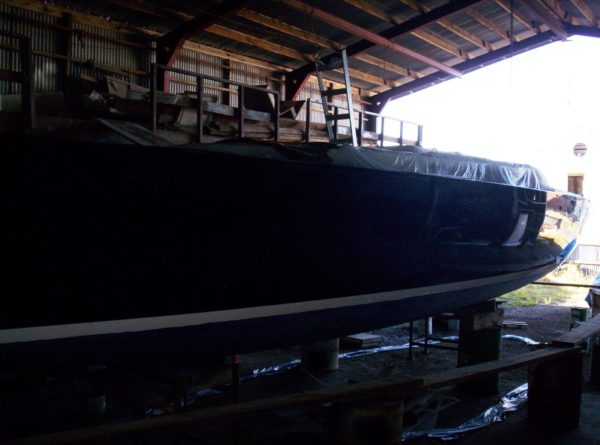 Nordkyn Shell Finishing 56 - Looking aft in the high-gloss topcoat