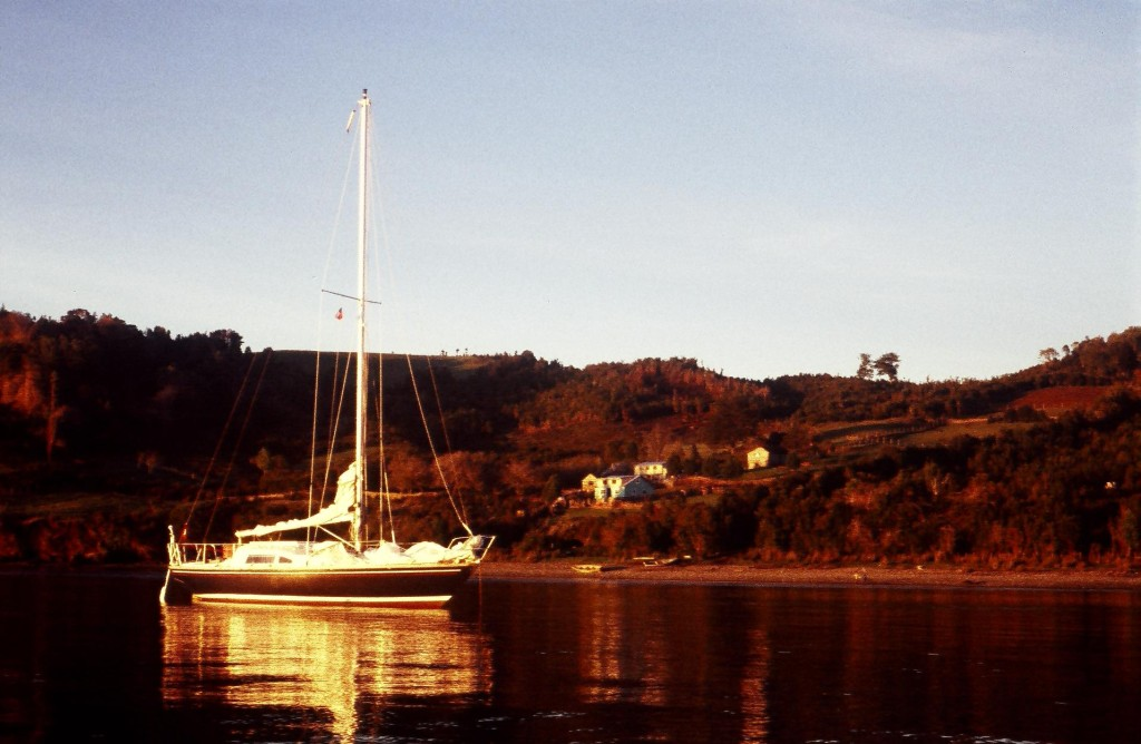 Yarra at Puerto San Pedro, Chiloé, Chili. First sunset in weeks after sailing up the Patagonian Channels.