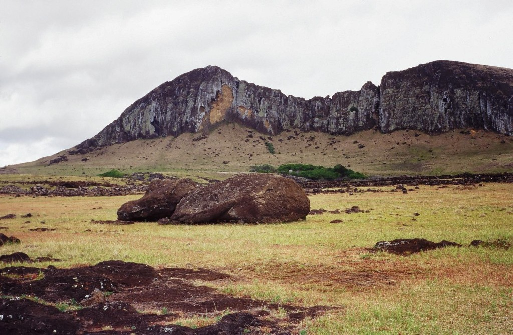 The eroded ridge of the Rano-Raraku volcano where the statues of Easter Island were carved out of the rock.