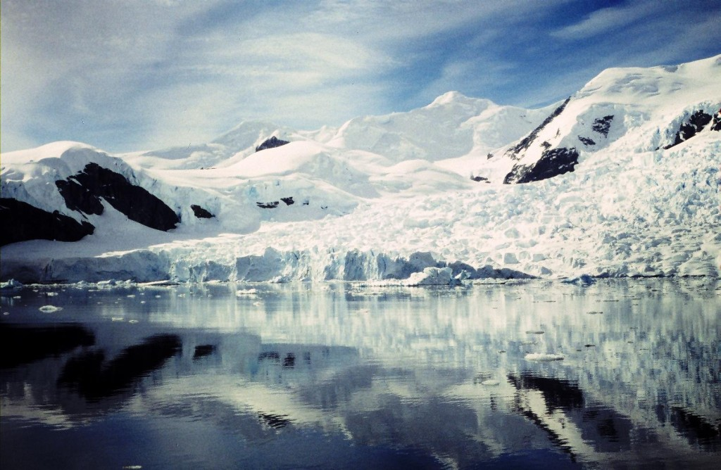 Reflections in the icy waters of Paradise Bay, Antarctic Peninsula.