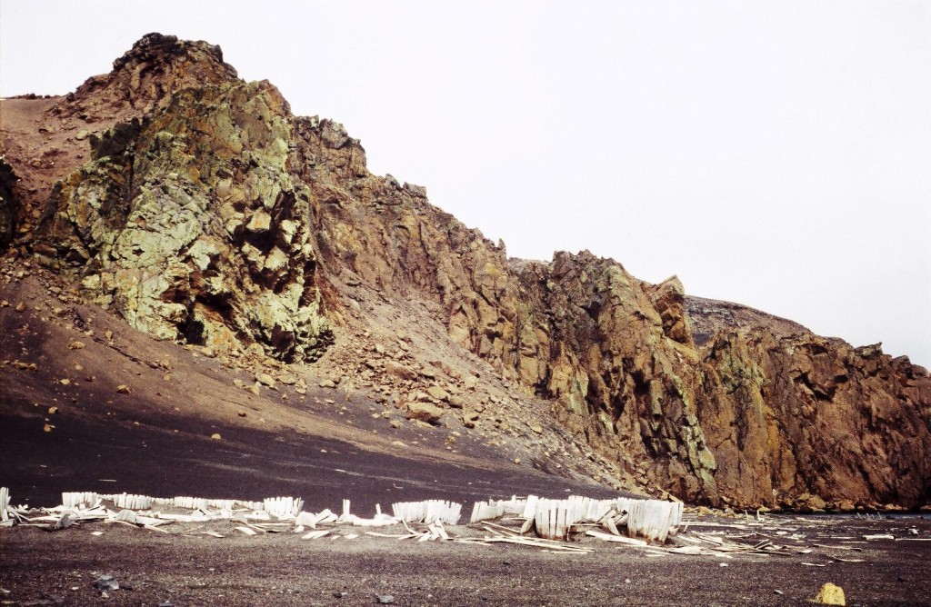 Wooden barrels on the beach in Whaler's Bay, Deception Island (62°58' S, 60°39' W) in the South Shetland Islands.